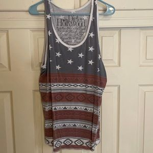 American Flag Tribal Print Muscle Shirt Tank Top